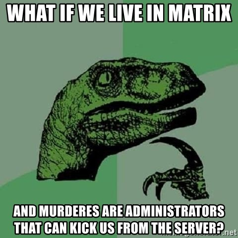 Philosoraptor - What if we live in Matrix and murderes are administrators that can kick us from the server?