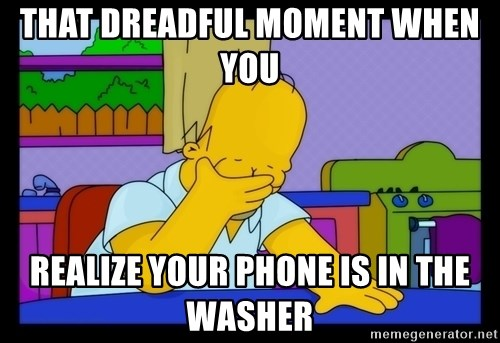 Homer Facepalm - That dreadful moment when you  realize your phone is in the washer