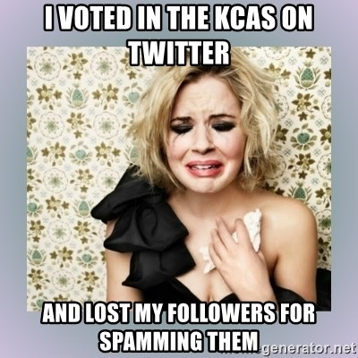 Crying Girl - I voted in the kCas on twitteR And lost my followers For spamming them