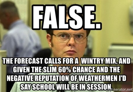False guy - False.  The Forecast calLs for a  wintry mix, and GIVEn the slim 60% chance and the NegaTive reputation of WEathermeN I'd say School will be in session.