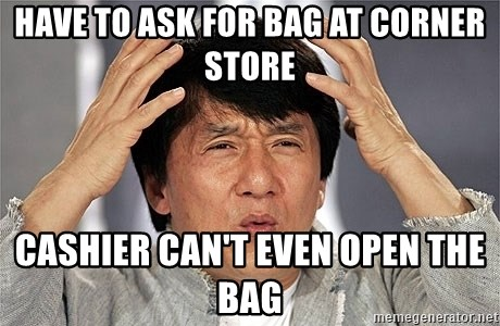 Jackie Chan - have to ask for bag at corner store cashier can't even open the bag