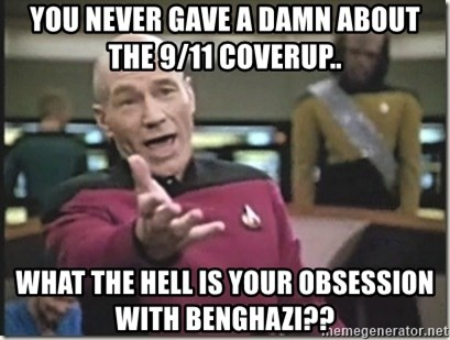 star trek wtf - you never gave a damn about the 9/11 coverup.. what the hell is your obsession with benghazi??