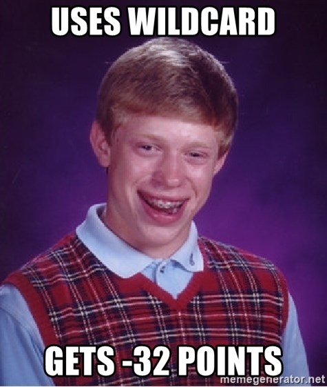 Bad Luck Brian - uses wildcard gets -32 points