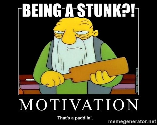 Thats a paddlin - Being a sTunk?!