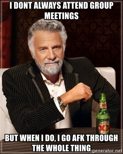 The Most Interesting Man In The World - i dont always attend group meetings but when i do, i go afk through the whole thing