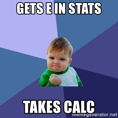 Success Kid - Gets e in stats takes calc