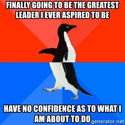 Socially Awesome Awkward Penguin - finally going to be the greatest leader i ever aspired to be have no confidence as to what i am about to do