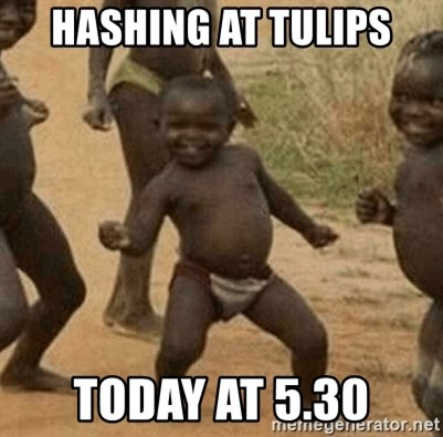 Success African Kid - Hashing at tulips today at 5.30