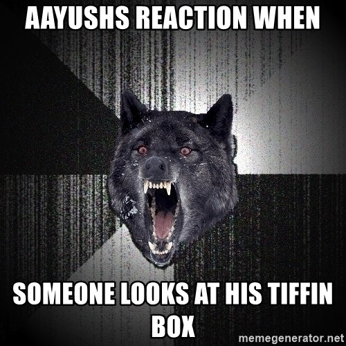 flniuydl - aayushs reaction when someone looks at his tiffin box