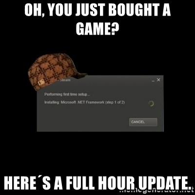 Scumbag Steam - oh, you just bought a game? here´s a full hour update.