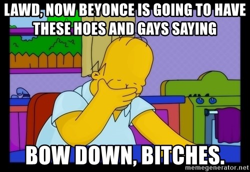 Homer Facepalm - Lawd, now Beyonce is going to have these hoes and gays saying Bow down, bitches.