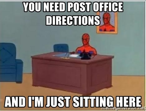 Spiderman Desk - you need post office directions and i'm just sitting here