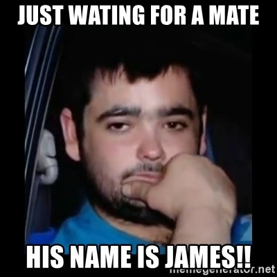 just waiting for a mate - JUST WATING FOR A MATE HIS NAME IS JAMES!!