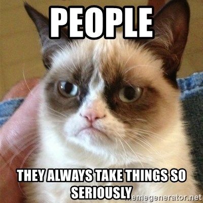 Grumpy Cat  - pEople they always take things so seriously