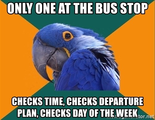 Paranoid Parrot - ONLY ONE AT the Bus stop CHecks Time, CHecks Departure Plan, CHecks DAY OF THE WEEK