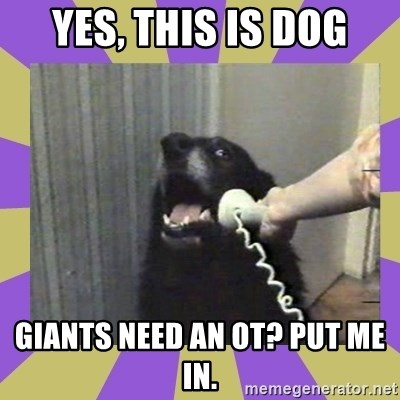 Yes, this is dog! - Yes, this is Dog Giants need an OT? put me in.