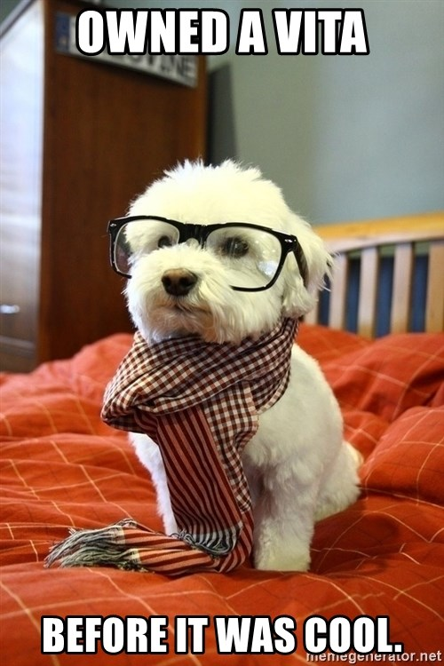 hipster dog - Owned a Vita before it was cool.