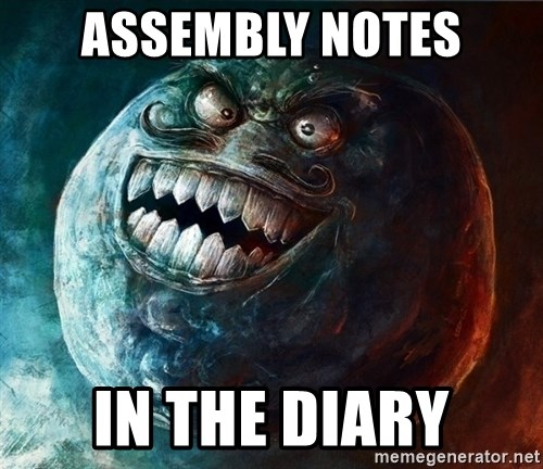 I Lied - Assembly Notes In the diary