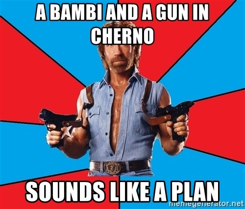 Chuck Norris  - A bambi and a gun in cherno sounds like a plan