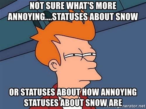 Futurama Fry - not sure what's more annoying....statuses about snow or statuses about how annoying statuses about snow are
