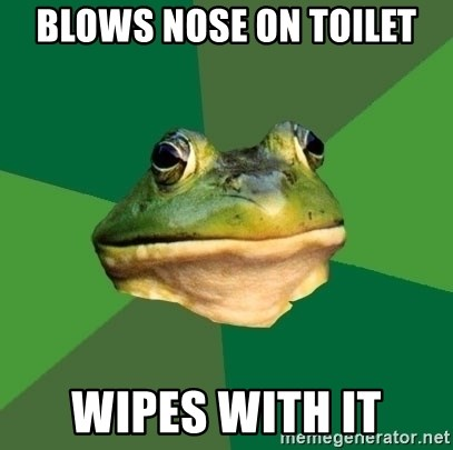 Foul Bachelor Frog - Blows nose on toilet wipes with it