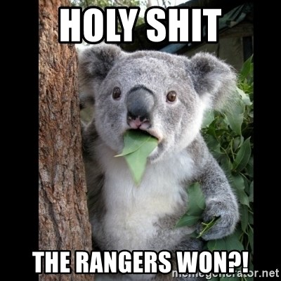 Koala can't believe it - Holy shit the rangers won?!