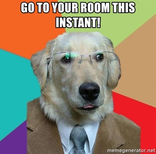 Business Dog - GO to your room this instant!