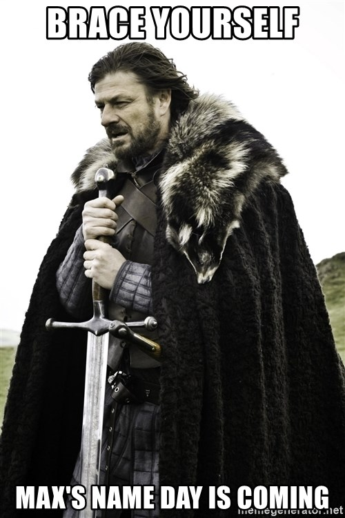 Ned Stark - Brace yourself  Max's Name Day is Coming