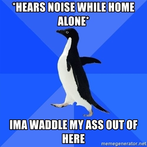 Socially Awkward Penguin - *hears noise while home alone* ima waddle my ass out of here