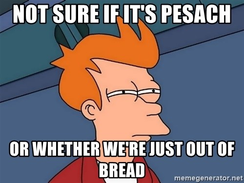 Futurama Fry - Not sure if it's pesach Or whether we're just out of bread