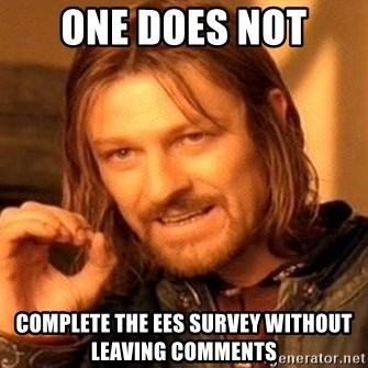 One Does Not Simply - One does not complete the ees survey without leaving comments