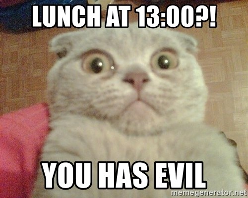GEEZUS cat - LUNCH AT 13:00?! you has evil