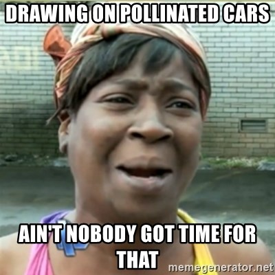 Ain't Nobody got time fo that - Drawing on pollinated cars Ain't nobody got time for that