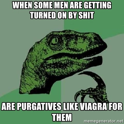 Philosoraptor - when some men are getting turned on by shit are purgatives like viagra for them