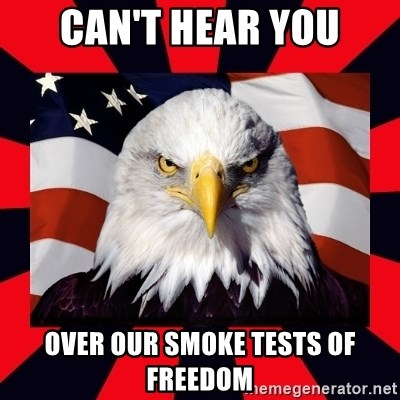 Bald Eagle - Can't hear you over our smoke tests of freedom