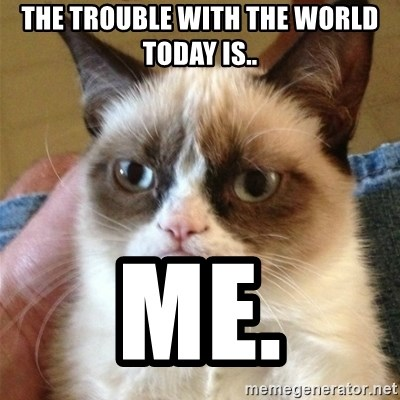Grumpy Cat  - The trouble With the world today is.. Me.