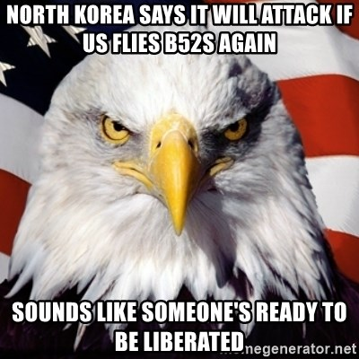 Freedom Eagle  - North korea says it will attack if us flies b52s again sounds like someone's ready to be liberated