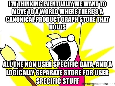 X ALL THE THINGS - I'm thinking eventually we want to move to a world where there's a canonical product graph store that holds all the non user specific data, and a logically separate store for user specific stuff