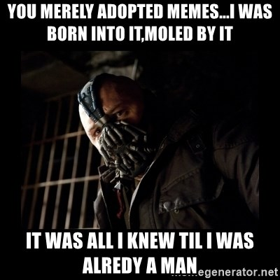 Bane Meme - you merely adopted memes...i was born into it,moled by it it was all i knew til i was alredy a man