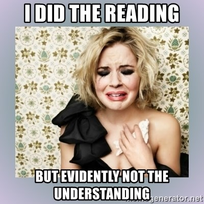 Crying Girl - I did the reading but evidently not the understanding