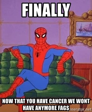 spider manf - FINALLY NOW THAT YOU HAVE CANCER WE WONT HAVE ANYMORE FAGS