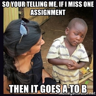 Skeptical third-world kid - SO YOUR TELLING ME, IF I MISS ONE ASSIGNMENT THEN IT GOES A TO B