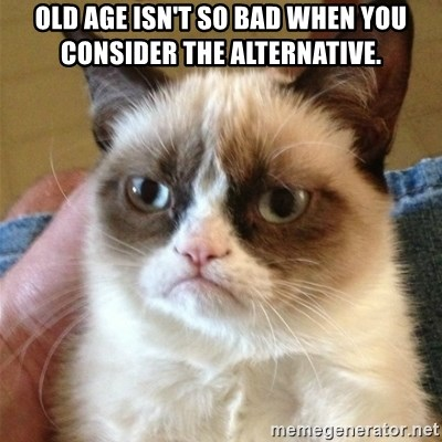 Grumpy Cat  - Old age isn't so bad when you consider the alternative.