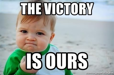 fist pump baby - the victory is ours