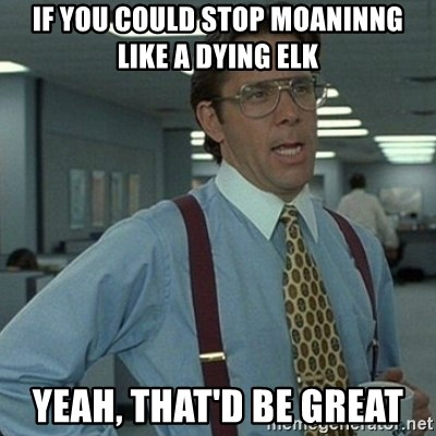 Yeah that'd be great... - IF YOU COULD stop moaninng like a dying elk yeah, that'd be great