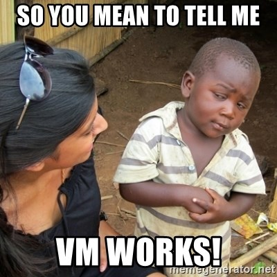 Skeptical 3rd World Kid - So you mean to tell me VM works!