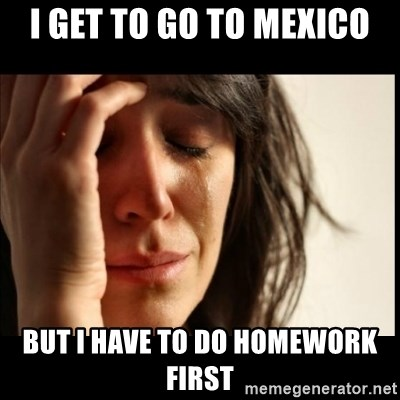 First World Problems - I Get to go to mexico But i have to do homework first