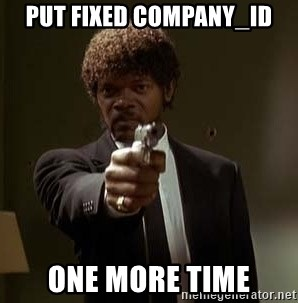 Jules Pulp Fiction - PUT FIXED COMPANY_ID ONE MORE TIME