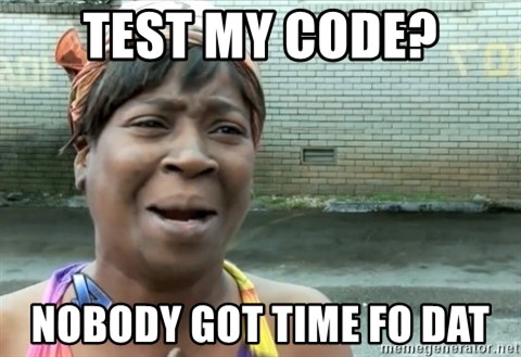 nobody got time fo dat - TEST MY CODE? NOBODY GOT TIME FO DAT
