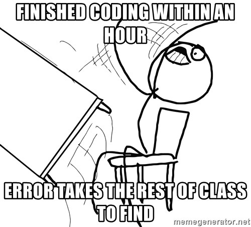 Desk Flip Rage Guy - finished coding within an hour error takes the rest of class to find